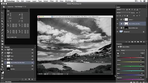 Controlling contrast with masks: Creating Black-and-White Landscape Photos with Photoshop