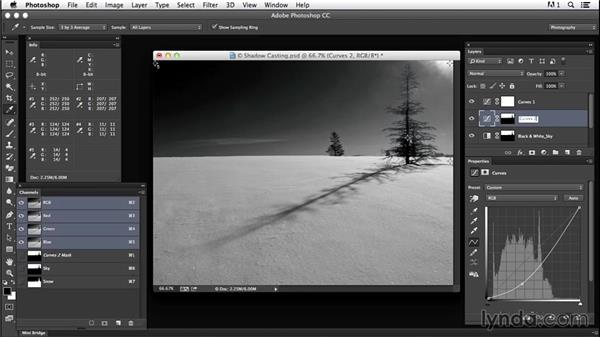 Enhancing contrast with gradient masks and clipping-masked curves: Creating Black-and-White Landscape Photos with Photoshop