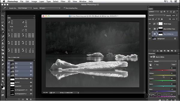 Fine-tuning results by editing masks and balancing adjustments: Creating Black-and-White Landscape Photos with Photoshop
