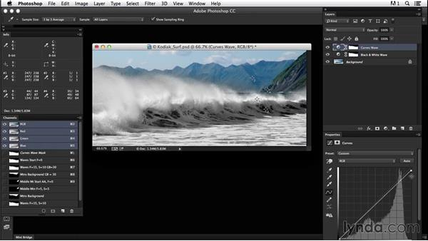Using overlapping masks to blend complex areas: Creating Black-and-White Landscape Photos with Photoshop
