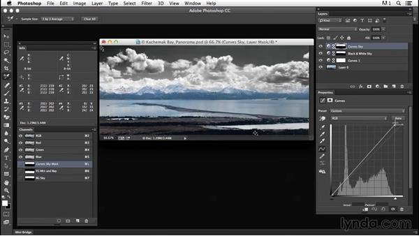 Solution: Using masks to perform a complex black-and-white conversion: Creating Black-and-White Landscape Photos with Photoshop