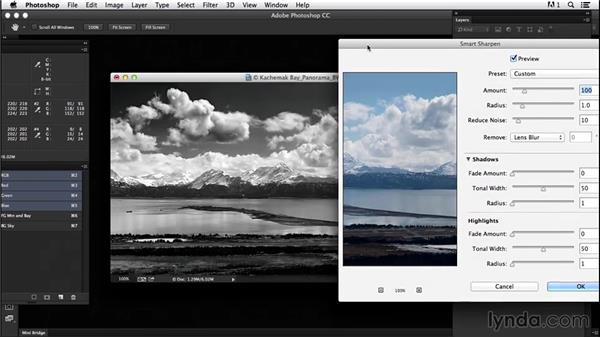 Sharpening with nondestructive tools: Creating Black-and-White Landscape Photos with Photoshop