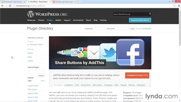 Installing and activating AddThis: WordPress Plugins: Social Media Buttons