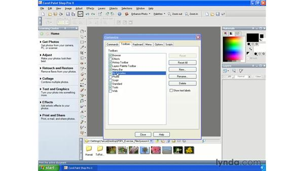 Customizing the interface: Paint Shop Pro X Essential Training