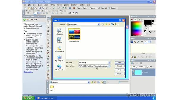 Saving images: Paint Shop Pro X Essential Training