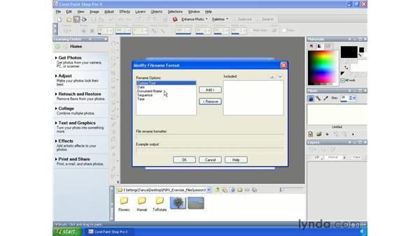Batch renaming images: Paint Shop Pro X Essential Training