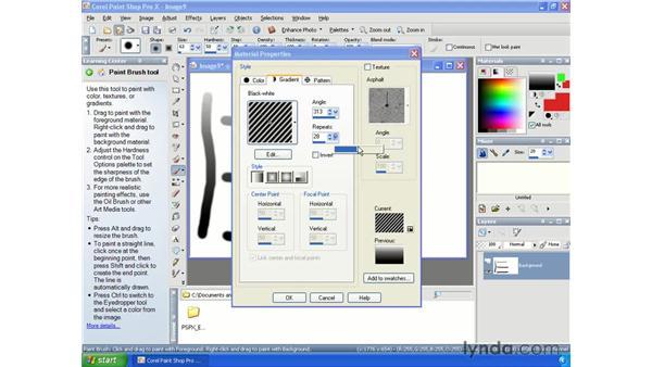Choosing gradients: Paint Shop Pro X Essential Training