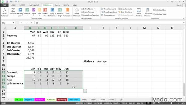 Use AutoSum shortcuts: Excel 2013 Tips and Tricks