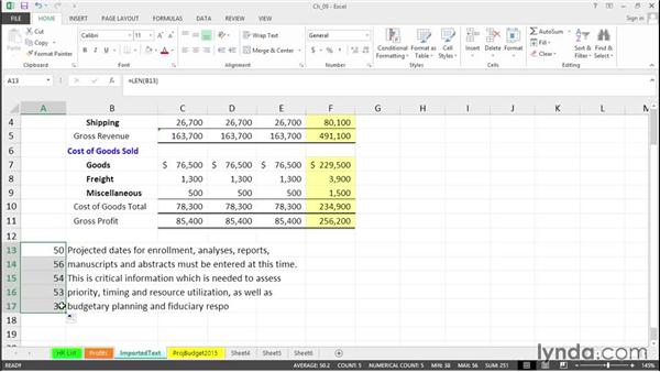 Realign imported text: Excel 2013 Tips and Tricks