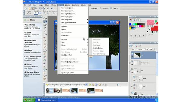 Moving and arranging layers: Paint Shop Pro X Essential Training