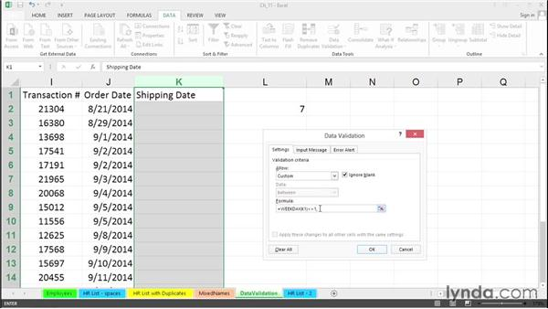 Force typed dates to be only weekdays with data validation rules: Excel 2013 Tips and Tricks