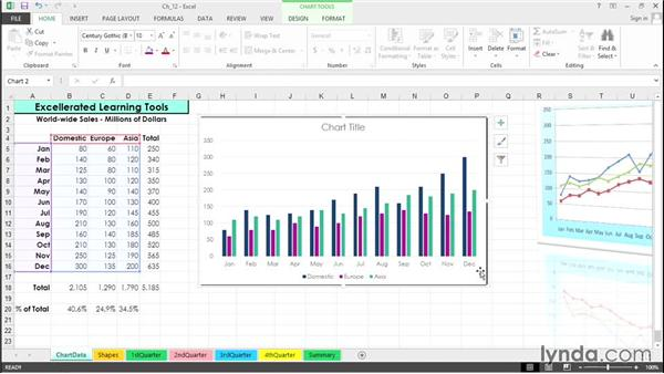 Manipulate chart placement with dragging techniques: Excel 2013 Tips and Tricks