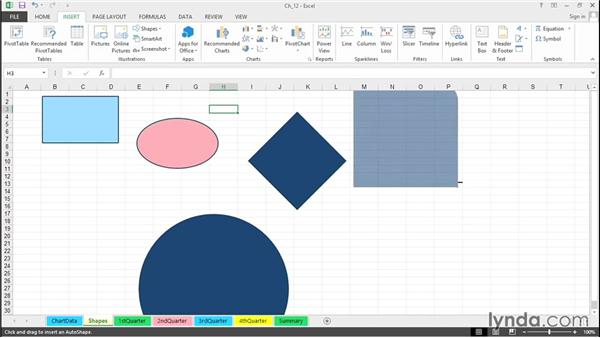 Create and manipulate shapes and use Shift and Ctrl keys: Excel 2013 Tips and Tricks