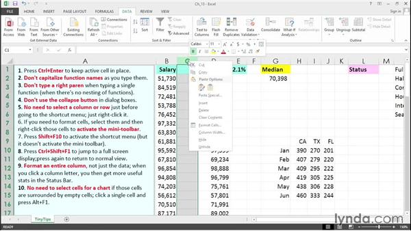 Become more proficient with these short tips: Excel 2013 Tips and Tricks