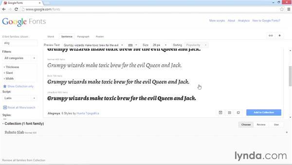 Selecting fonts from Google Fonts: WordPress Developer Tips: Using Custom Web Fonts