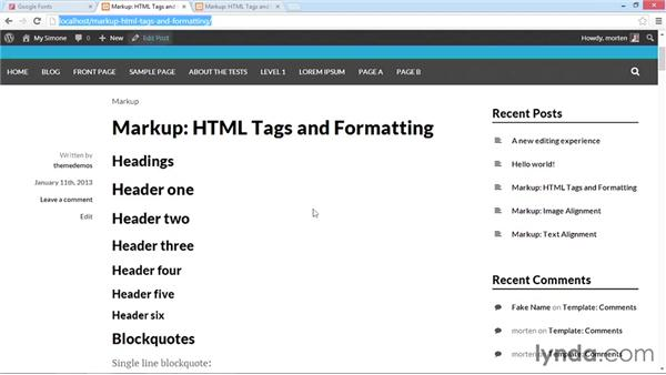 Applying Google Fonts to your content: WordPress Developer Tips: Using Custom Web Fonts
