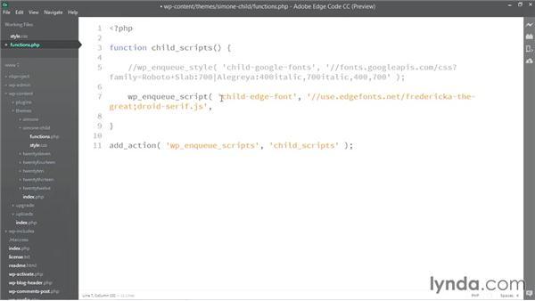 Enqueueing the Edge Web Fonts JavaScript: WordPress Developer Tips: Using Custom Web Fonts