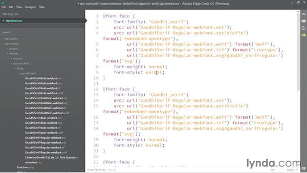 Editing the font kit stylesheets: WordPress Developer Tips: Using Custom Web Fonts