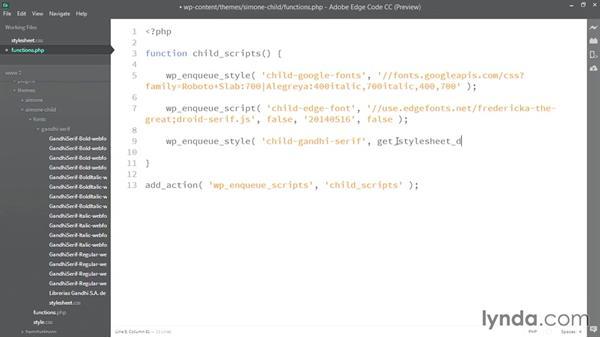 Enqueueing the custom font stylesheet: WordPress Developer Tips: Using Custom Web Fonts