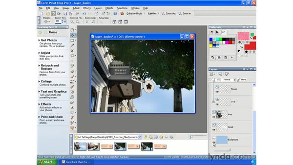 Merging layers: Paint Shop Pro X Essential Training