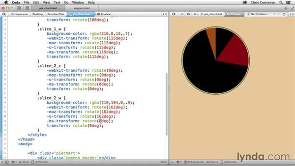 Adding a second wedge shape: Design the Web: Pie Charts with CSS