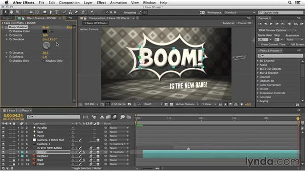 Faux 3D using effects and layer styles: 3D Typography in After Effects