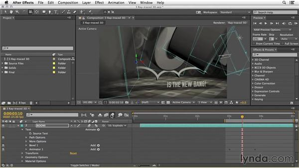 More options: Per character 3D, curvature, and reflections: 3D Typography in After Effects