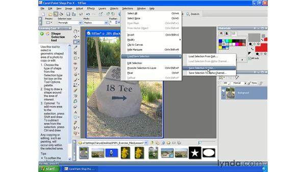 Saving and loading selections to disk: Paint Shop Pro X Essential Training