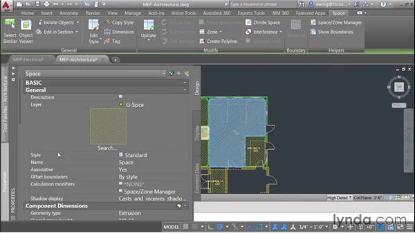 Adding spaces: AutoCAD MEP Essential Training