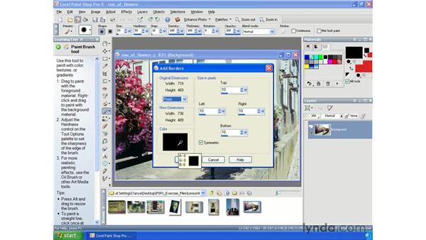 Adding borders: Paint Shop Pro X Essential Training