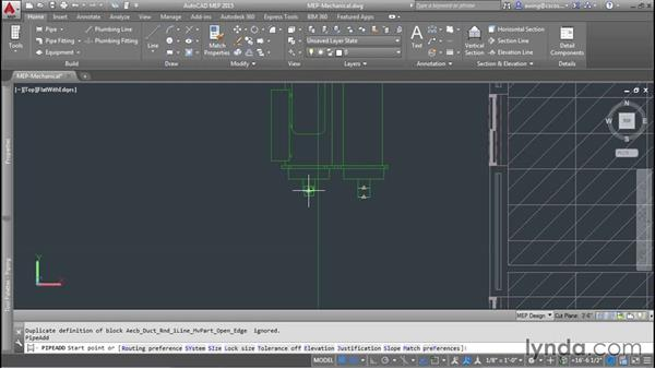 Adding chilled-water piping: AutoCAD MEP Essential Training