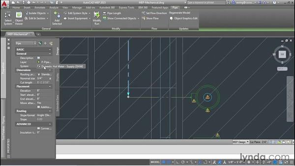 Adding hot-water piping: AutoCAD MEP Essential Training