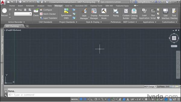 Setting up a plumbing drawing: AutoCAD MEP Essential Training