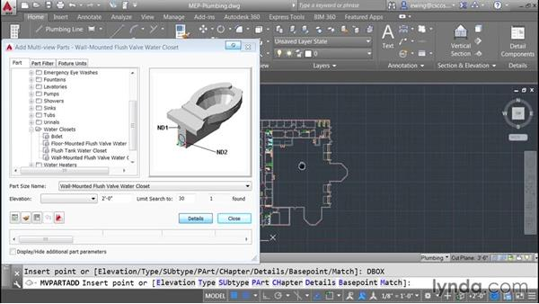 Adding plumbing fixtures and floor drains: AutoCAD MEP Essential Training