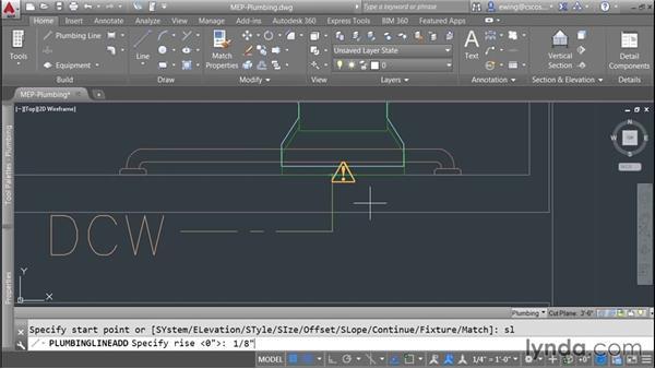 Creating plumbing lines: AutoCAD MEP Essential Training