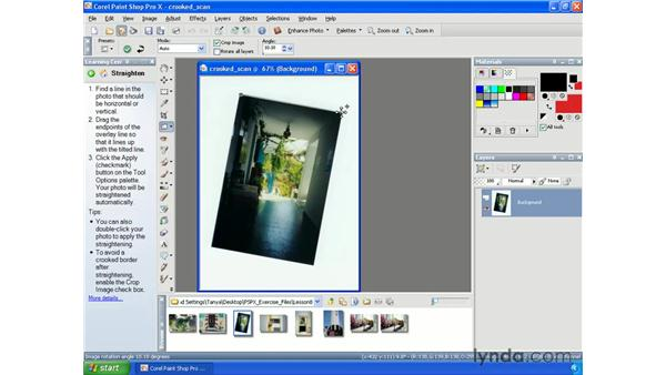 Straightening crooked images: Paint Shop Pro X Essential Training