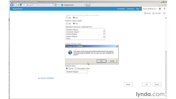 Editing and deleting existing columns: SharePoint 2013 for Site Champions and Power Users