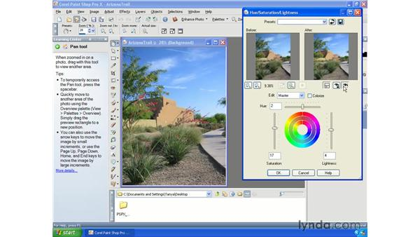 Adjusting hue and saturation: Paint Shop Pro X Essential Training
