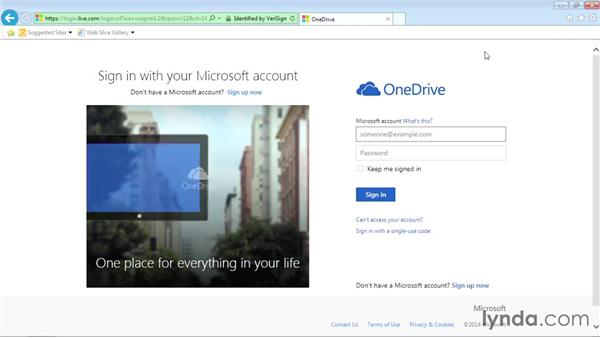 Creating a OneDrive account: Office Online Essential Training