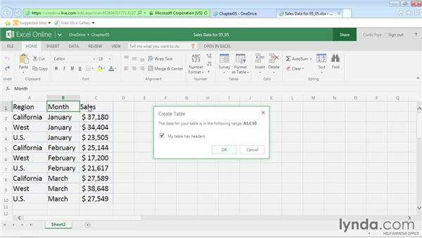 Creating, sorting, and filtering table data: Office Online Essential Training