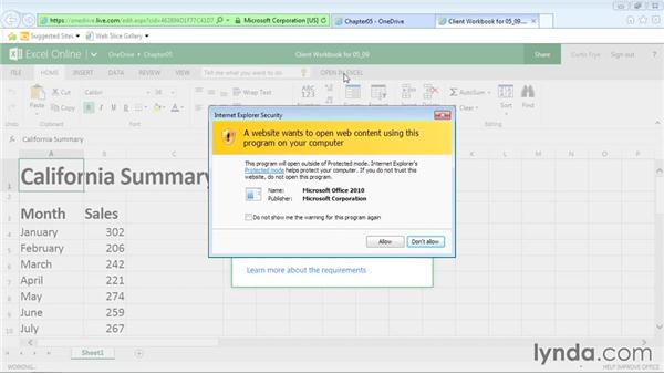 Opening online files in the Excel client: Office Online Essential Training