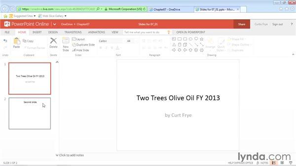 Managing slides in online presentations: Office Online Essential Training