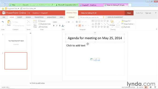 Entering, editing, and reviewing slide contents: Office Online Essential Training