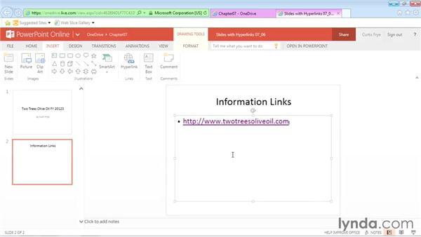 Adding hyperlinks to online presentations: Office Online Essential Training