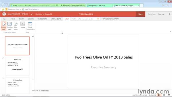 Creating and presenting a slideshow: Office Online Essential Training