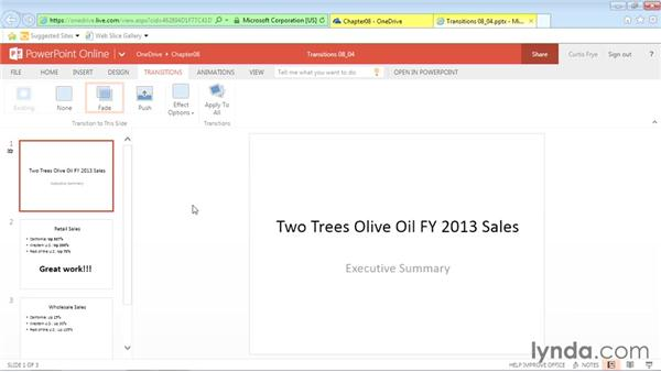 Adding slide transitions: Office Online Essential Training