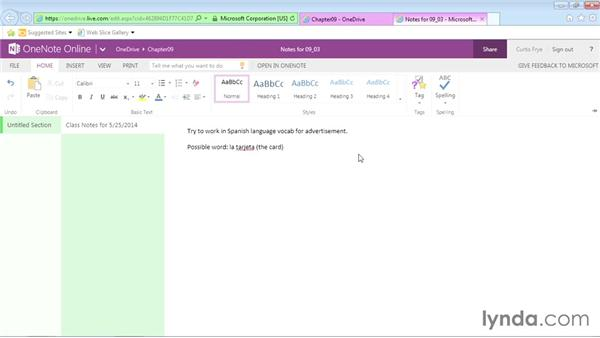 Checking spelling in online notebooks: Office Online Essential Training
