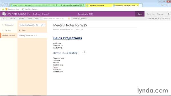 Formatting online OneNote page contents: Office Online Essential Training