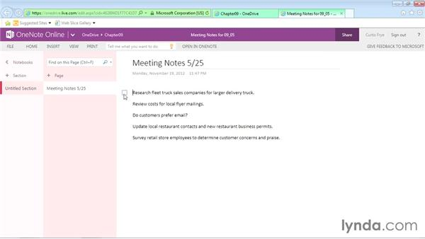 Tagging online OneNote page contents: Office Online Essential Training