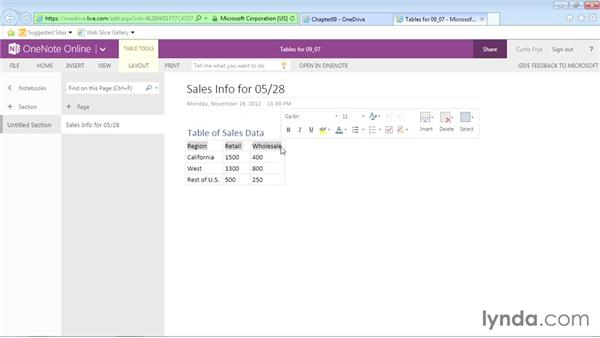 Creating tables in the OneNote online app: Office Online Essential Training